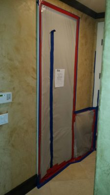 cover the flooring with plastic - mold removal