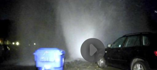 Water damage main erupts in Los Angeles. CA